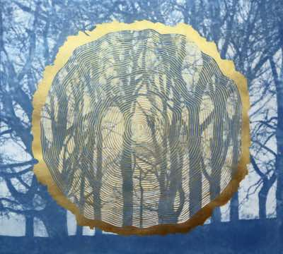 Photo polymer and screnprint with gold pigments, edition of 5